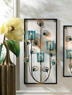 """large 19"""" teal blue turquoise peacock modern art wall mount"""