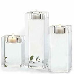 Amazing Home Large Crystal Candle Holders Set of 3, 3.1/4.6/