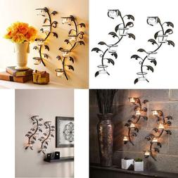 Hosley Leaf Wall Art Candle Holder Wall Sconce Plaque Set of