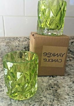 YANKEE CANDLE LIME  FRACTAL GLASS VOTIVE CANDLE HOLDER SET O