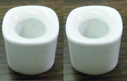 """Lot of 2  White Ceramic Candle Holders for 4"""" Mini Taper Chi"""