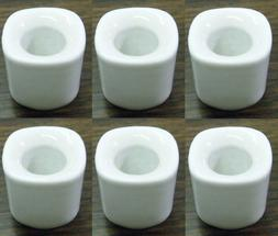 "Lot of 6  White Ceramic Candle Holders for 4"" Mini Taper Chi"