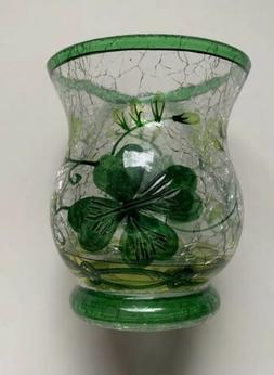 YANKEE CANDLE LUCKY SHAMROCKS GLASS VOTIVE TEA LIGHT HOLDER