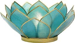Luna Bazaar 3-Layer Capiz Lotus Candle Holder  - For Use wit