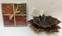 Maple Leaf Candle Holder Ceramic & 4 Floating Maple Leaf Pat
