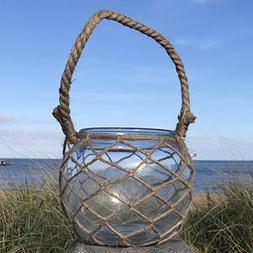 The Mariners Lobster Pot Netted Hurricane Candle Lantern, Gl