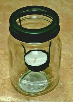 Mason Jar Tea Light Candle Holder with Black Lid and Candle