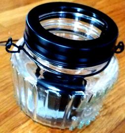 Mason Jar Tea Light Candle Holder With Black Wire Handle LED
