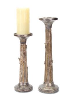 Melrose International Set of 2 Tree Trunk Candle Holder Set