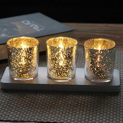 Mercury Glass Votive Tealight <font><b>Candle</b></font> <fo
