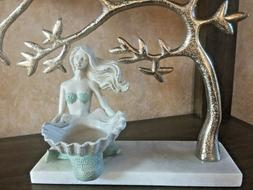 Mermaid  White & Turquoise Candle Holder. Elegant Home Accen