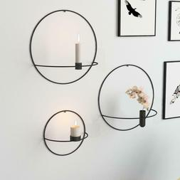 Metal Candle Holder Geometric Round Candlestick Wall Mounted