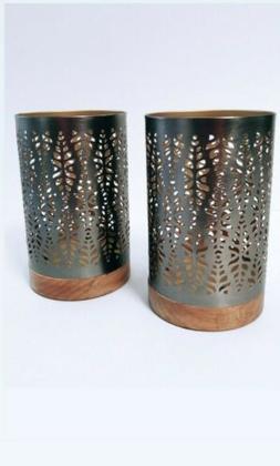 metal candle holder pillar wood bottom set