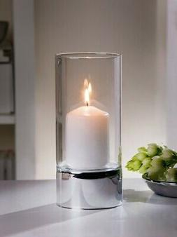 Metal and Glass Hurricane Candle Holder, Silver Spark Produc