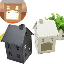Metal House Shape Candle Holder Lantern Desk Candle Cage Xma