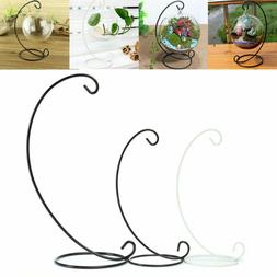 Metal Lantern Stand Hanging Candlestick Glass Globe Desk Can