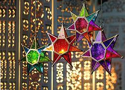 CraftVatika Metal Green Glass Star Lanterns Lamp | Hurricane