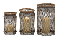 Deco 79 Metal Rope Candle Holder, 11 by 9 by 8-Inch, Set of