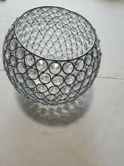 VINCIGANT Metal Silver Crystal Bowl Candle Holders Wedding T