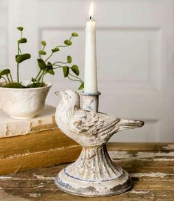 Metal Taper Candle Holder Bird Farmhouse Country Shabby