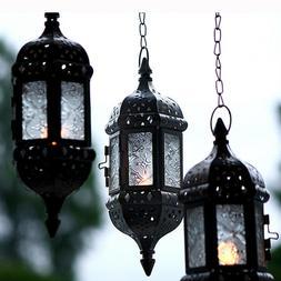 Metal Vintage Tea Light Candle Holder Moroccan Hanging Glass