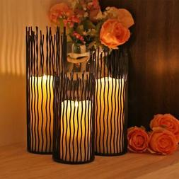 Metal Willow Candle Holder - Set of 3, Black, 8/10/12 in