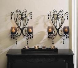 SET OF 2 MIDNIGHT ELEGANCE SMOKE GLASS CANDLE HOLDER WALL SC