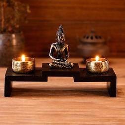 Mini Buddha Statue Zen Decoration with 2 Tealight Candle Hol