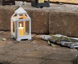 "Mini small 8"" white Malta Modern metal candle holder lantern"