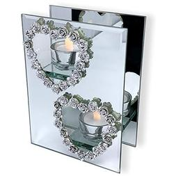 BANBERRY DESIGNS Mirrored Candle Holder - Silver Heart Candl