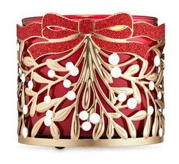 Bath and Body Works Mistletoe 3 Wick Candle Holder.