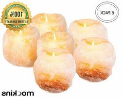 Mockins 2.5 Lbs 4 Pack Natural Himalayan Salt Tea Light Cand