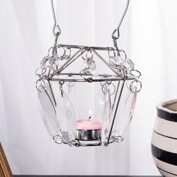 Flower Basket Crystal Candle Holder Hanging Wedding Decor Te