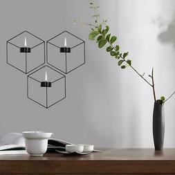 Wall Hanging Candle Holder Stand 3D Geometric Metal Tea Ligh