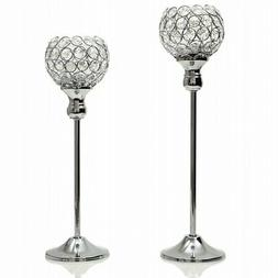 VINCIGANT Modern Silver Crystal Candle Holders/Decorative Ca