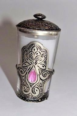 Moroccan Candle Holder glass Embossed Carved  hamsa home kit