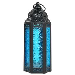 Moroccan Candle Holder Lantern Embossed Colored Hanging Glas