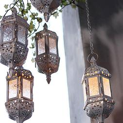 Moroccan Hanging Candle Lantern Retro Hollow Metal Glass Can