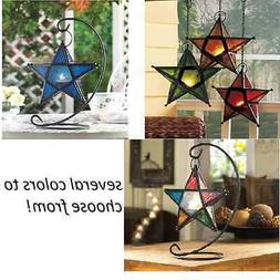 Moroccan hanging STAR shaped metal Candle holder lantern wed