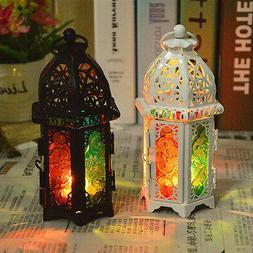 Moroccan Hollow Iron Glass Lantern Tea Light Candle Holder W