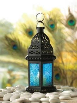 Moroccan Lantern Blue Glass Candle Holder Candleholder--X04-