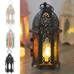 Moroccan Lantern Candle Holders Iron Glass Candlestick for H