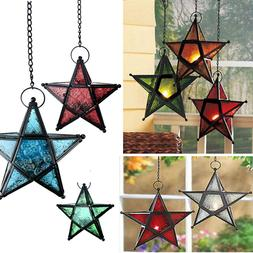 Moroccan Style Hanging Glass Metal Star Candle Lantern Holde