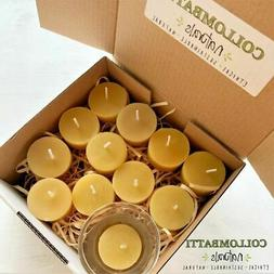 Naked Beeswax Tea Light Candles with Glass Candle Holder