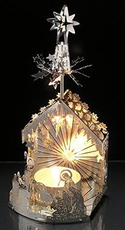 Nativity Candle - Laser Cut Silver Plated Nativity Tea Light