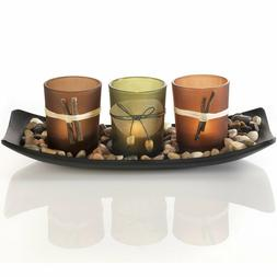 Natural Candlescape Set 3 Decorative Candle Holders Rocks an