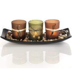 Natural Candlescape Set, 3 Decorative Candle Holders, Rocks