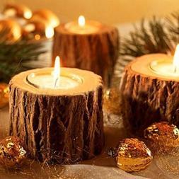 Natural Wooden Candle Holder Tea Light Candlesticks Christma