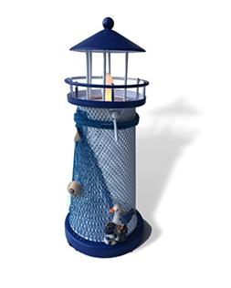 Light House Candle Holder - Blue and White Nautical Style Li