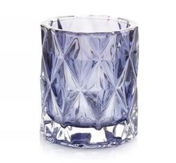 YANKEE CANDLE NAVY BLUE FRACTAL GLASS VOTIVE/TEA LIGHT CANDL